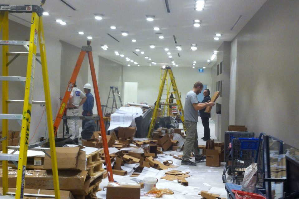 DLH Electric crew in action. Completing retail project before the deadline.